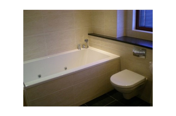 Traditional Bathroom Suite   Patterned Wall Tiling   Vanity Unit   Jacuzzi  Bath  Bathrooms in Aberdeen  Local Bathrooms Companies in Aberdeen. Elegant Bathrooms Aberdeen. Home Design Ideas